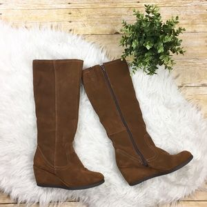 Merona Suede Leather Wedge Heel Tall Boots